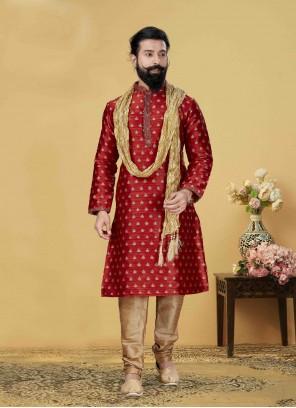 Jacquard Silk Red Kurta Pyjama