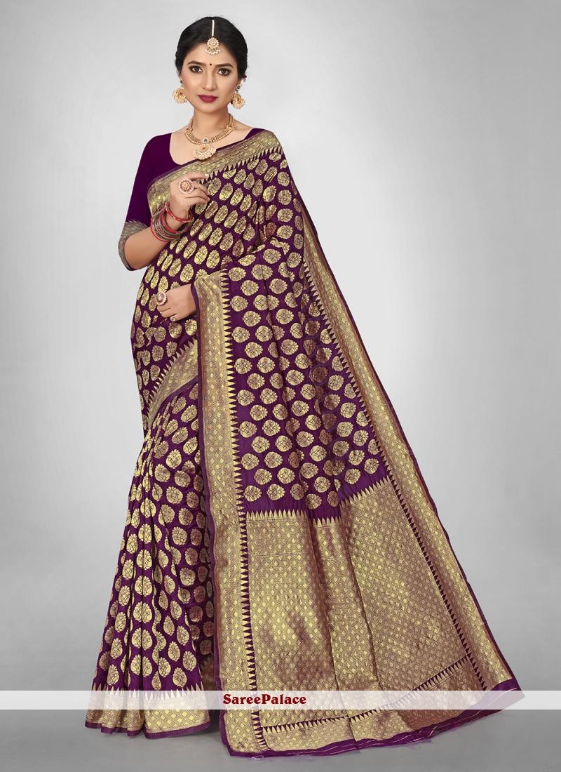 Jacquard Silk Weaving Zari Saree in Purple