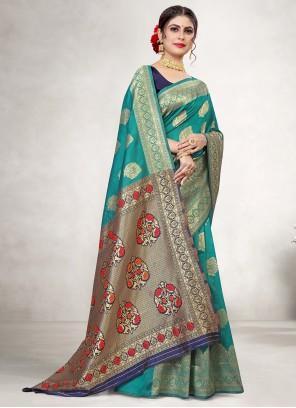 Jacquard Silk Teal Classic Saree