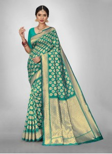 Jacquard Silk Teal Weaving Zari Saree