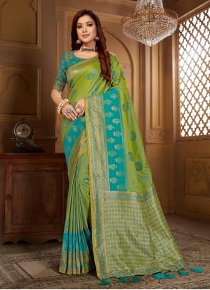 Jacquard Silk Thread Blue and Green Designer Contemporary Saree