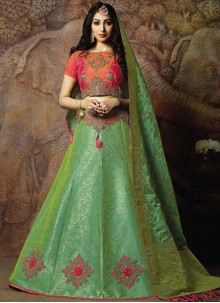 Jacquard Silk Trendy Lehenga Choli in Green