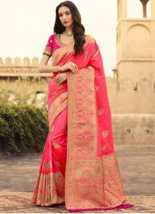 Jacquard Silk Trendy Saree in Pink