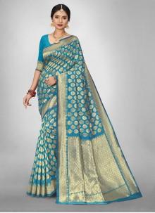 Jacquard Silk Turquoise Weaving Saree