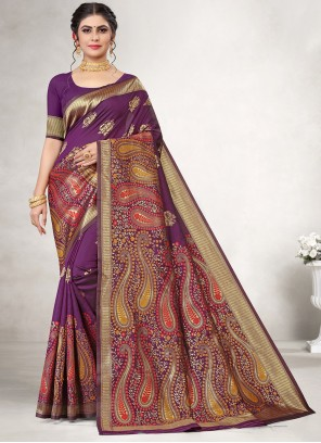 Jacquard Silk Weaving Purple Classic Saree