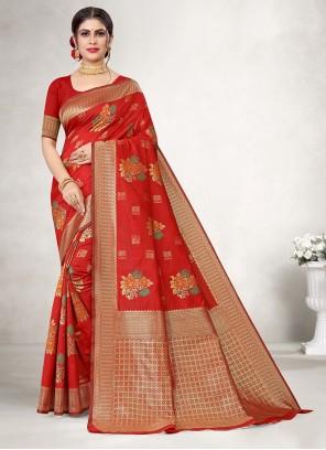 Jacquard Silk Weaving Red Saree