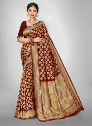 Jacquard Silk Weaving Maroon Saree