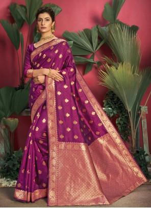 Purple Jacquard Silk Weaving Traditional Saree