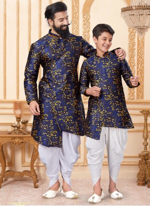 Jacquard Silk Woven Blue and Yellow Indo Western