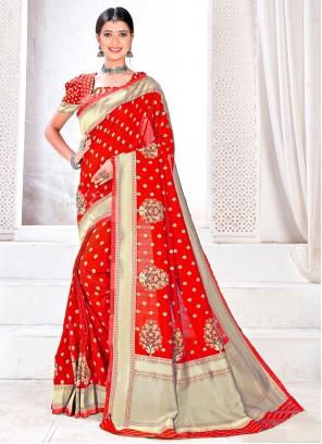 Jacquard Silk Woven Red Traditional Designer Saree