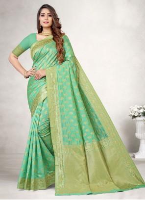 Jacquard Silk Woven Traditional Designer Saree in Green