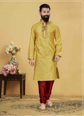 Jacquard Silk Yellow Embroidered Kurta Payjama With Jacket