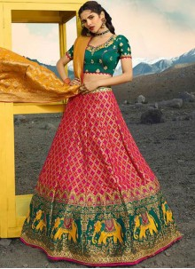 Jacquard Silk Zari Green and Rani Lehenga Choli