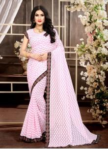 Jacquard Baby Pink Trendy Saree
