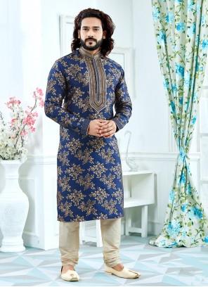Jacquard Weaving Blue Kurta Pyjama