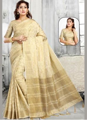 Jacquard Weaving Off White Classic Saree