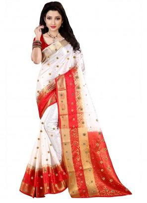 Jacquard Weaving White Bollywood Saree