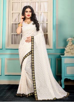 Jacquard White Lace Bollywood Saree