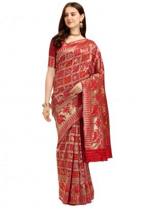Jacquard Work Banarasi Silk Trendy Saree
