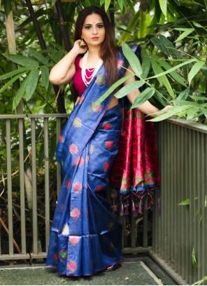 Jacquard Work Blue Traditional Designer Saree