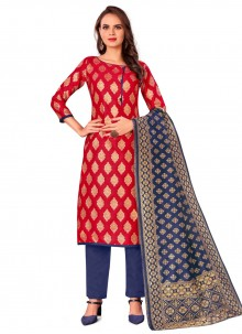 Red Jacquard Work Casual Pant Style Suit