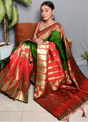 Jacquard Work Green Festival Designer Traditional Saree