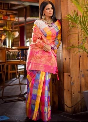 Jacquard Work Multi Colour Art Silk Trendy Saree