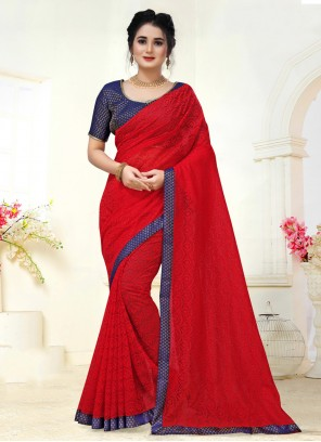 Jacquard Woven Contemporary Saree in Red