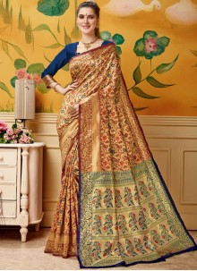 Jacquard Woven Cream and Maroon Designer Traditional Saree