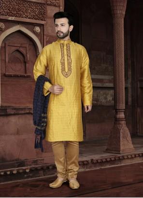 Jacquard Yellow Embroidered Kurta Pyjama