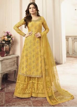 Jacquard Yellow Embroidered Palazzo Salwar Kameez