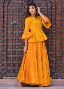 Jamawar Silk Block Print Mustard Designer Kurti