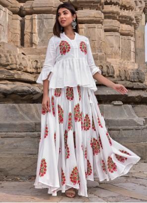 Jamawar Silk Designer Kurti in White