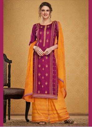 Jamawar Silk Maroon Palazzo Designer Suit