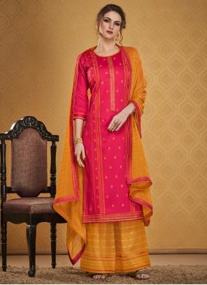 Jamawar Silk Pink Salwar Suit
