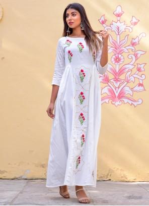 Jamawar Silk White Block Print Designer Gown