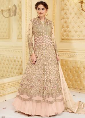Jazzy Resham Work Pink Fancy Fabric Floor Length Anarkali Suit