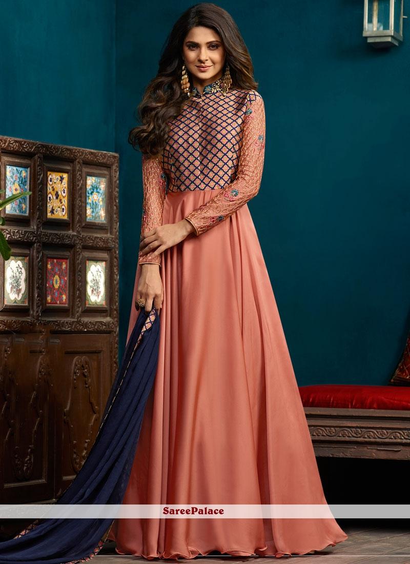 Jennifer Winget Art Silk Peach Readymade Anarkali Suit