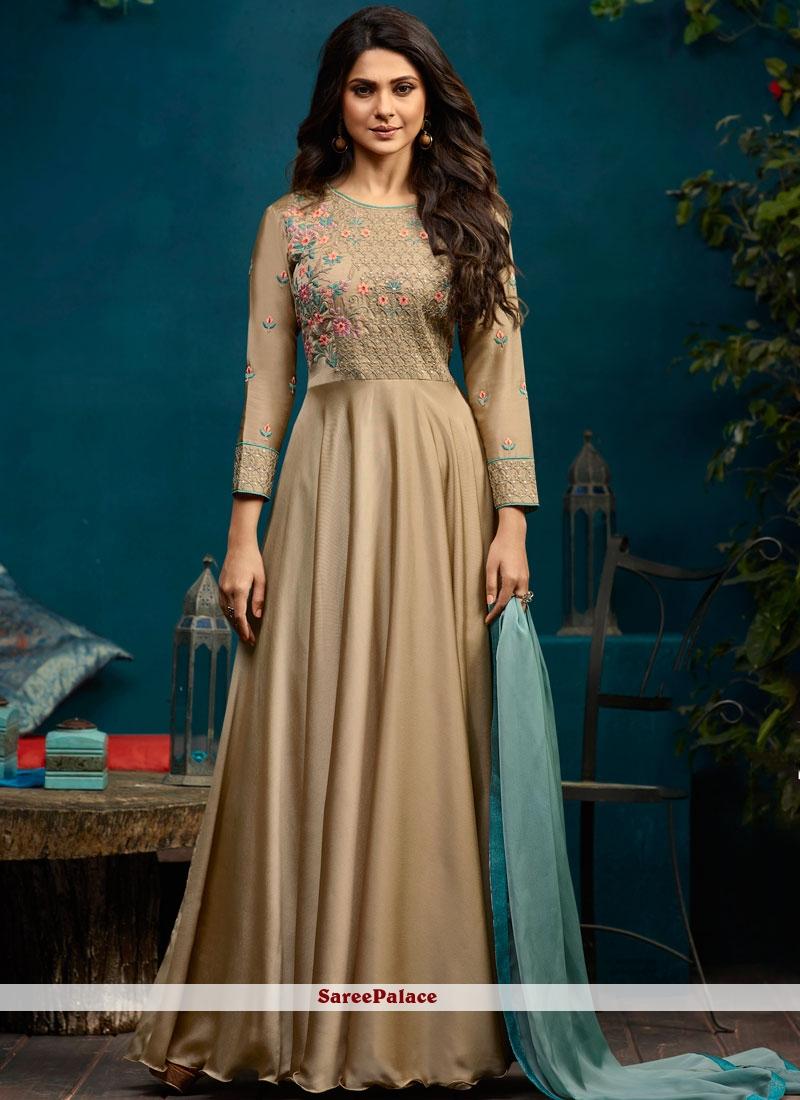 Jennifer Winget Beige Embroidered Readymade Anarkali Suit