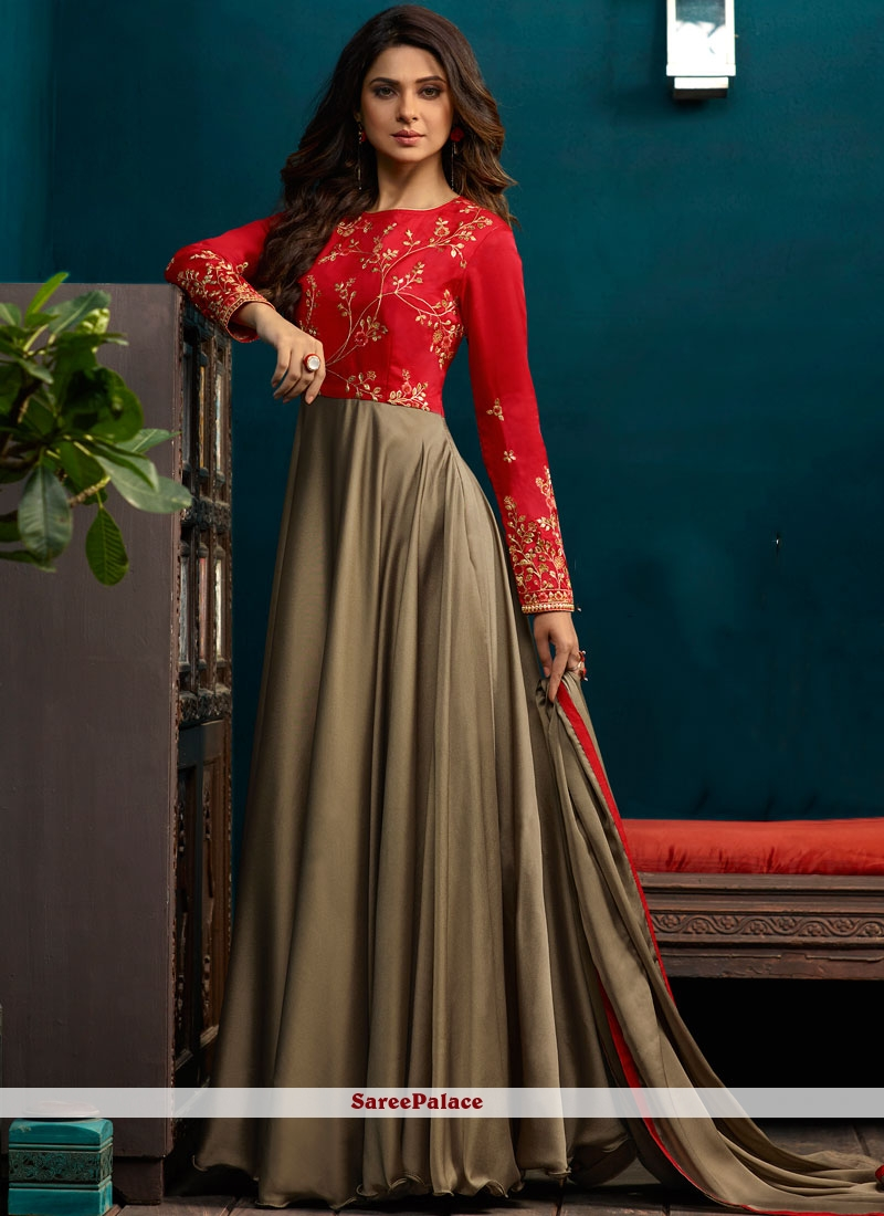 Jennifer Winget Grey and Red Embroidered Readymade Anarkali Suit