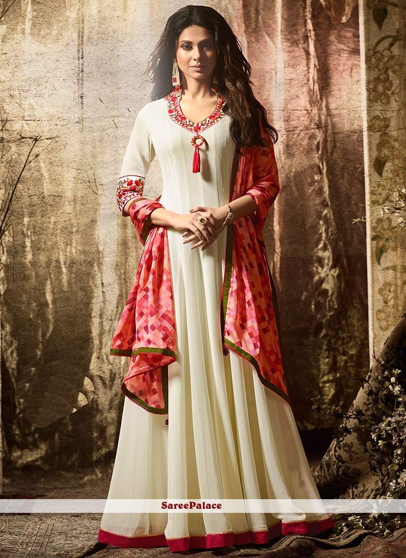 50b8320da7 Buy Jennifer Winget White Faux Georgette Floor Length Anarkali Suit Online