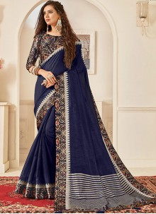 Jute Silk Print Navy Blue Traditional Saree