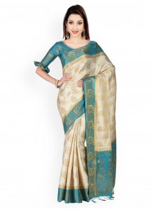 Kanchipuram silk Blue and Off White Weaving Work Classic Designer Saree