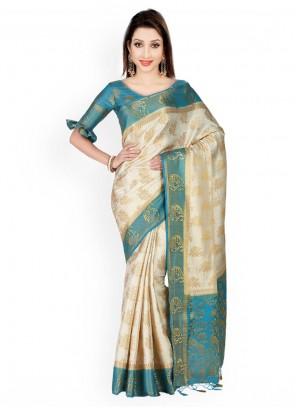 Kanchipuram silk Blue and Off White Weaving Work Classic Designer Saree