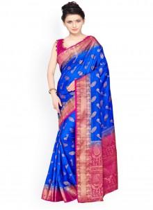 Kanchipuram silk Blue and Pink Weaving Work Designer Traditional Saree
