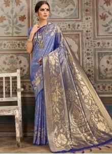 Kanchipuram Silk Blue Classic Saree