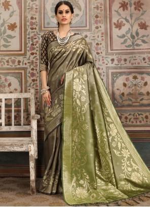 Kanchipuram Silk Green and Grey Classic Saree