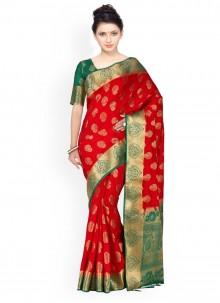 Kanchipuram silk Green and Red Weaving Work Classic Designer Saree