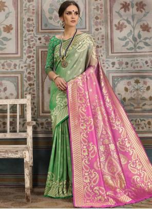 Kanchipuram Silk Green Woven Traditional Saree