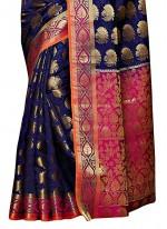Kanchipuram silk Navy Blue Classic Designer Saree